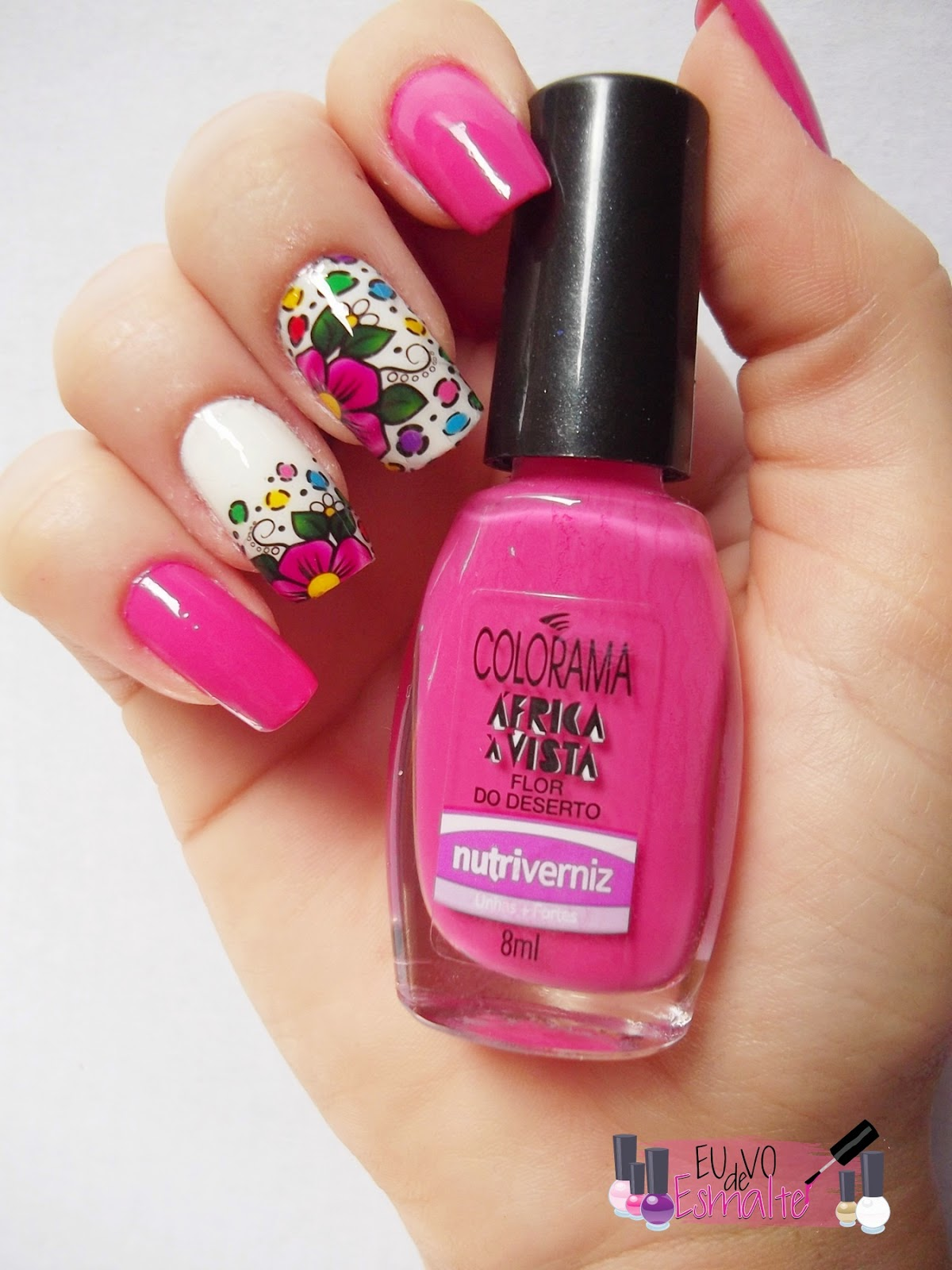 Tutorial unhas decoradas com flor mexicana
